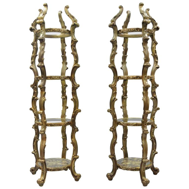 pair of gold hollywood regency syroco rococo style etagere curio fancy stands for sale at 1stdibs. Black Bedroom Furniture Sets. Home Design Ideas