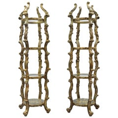 Pair Gold Hollywood Regency Syroco French Rococo Etagere Curio Display Stands