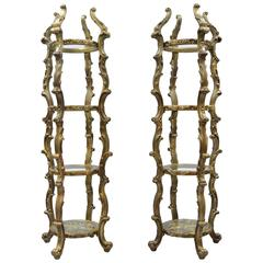Pair of Gold Hollywood Regency Syroco Rococo Style Etagere Curio Fancy Stands
