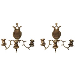 Pair of Brass French Three Candle Sconces, 19th Century
