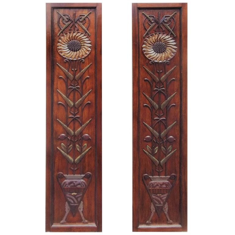 pair of carved art deco motif decorated mahogany panels for sale at 1stdibs. Black Bedroom Furniture Sets. Home Design Ideas