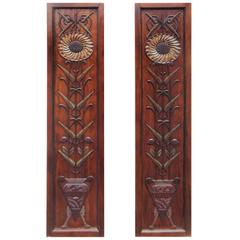Pair of Carved Art Deco Motif Decorated Mahogany Panels