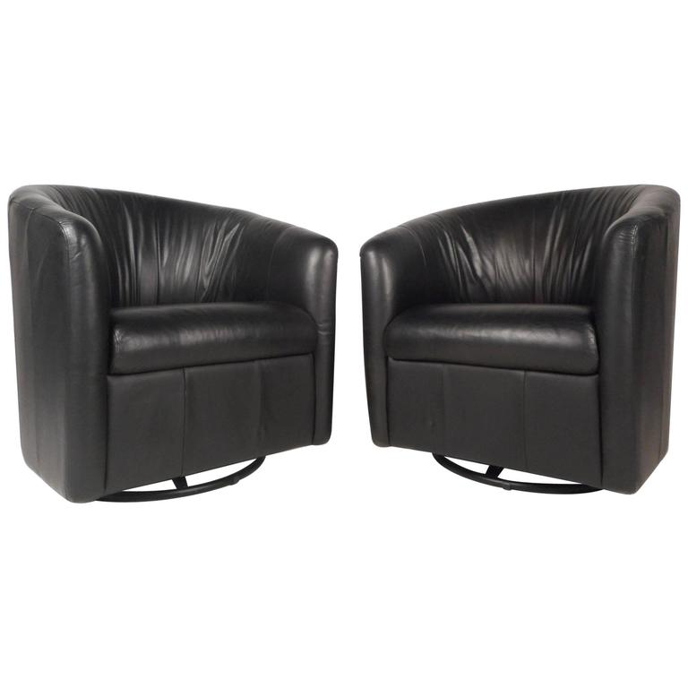 Mid Century Modern Swivel Barrel Back Lounge Chairs For Sale At 1stdibs
