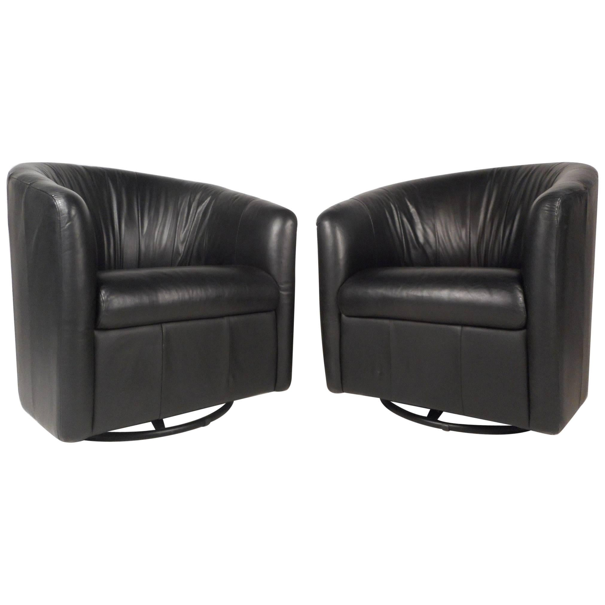 Mid-Century Modern Swivel Barrel Back Lounge Chairs