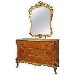 Vintage French Style Satinwood & Bronze Three-Drawer Dresser with Foliate Mirror