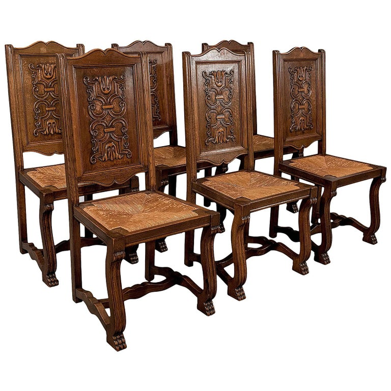 Kitchen Chairs For Sale: Antique Oak Set Of Six French Kitchen Dining Chairs, Rush