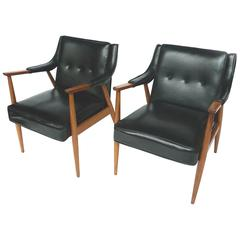 Pair of Black Vinyl Armchairs in the Style of Adrian Pearsall