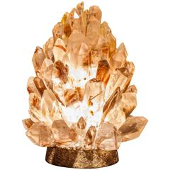 Liberty Inclusion - Unique Natural Rock Crystal Table Lamp - Demian Quincke
