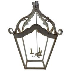 French White Cast Iron Lantern Chandelier