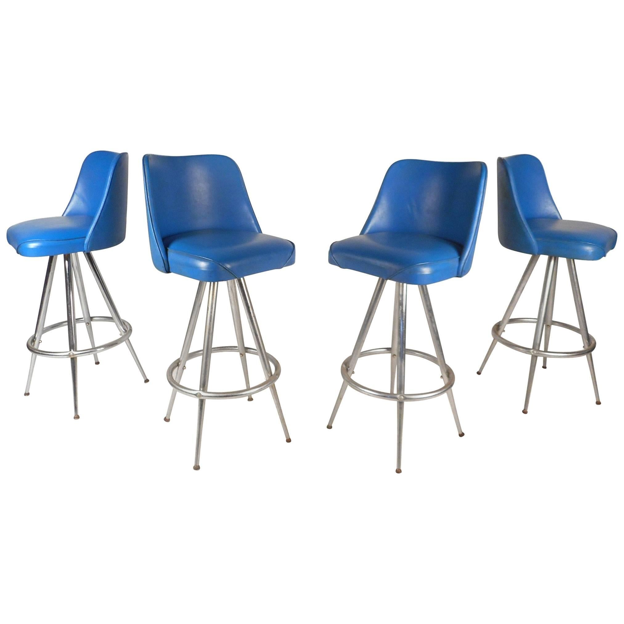 Set of Four Mid-Century Modern Swivel Bar Stools by L & B Products Corporation