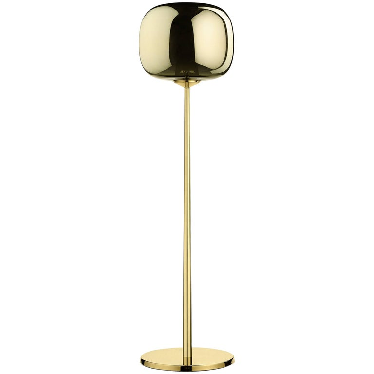 Dusk Dawn Lower Floor Lamp in Brass and Metalized Glass Designed by Branch For Sale