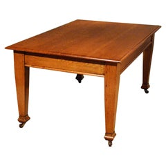Antique Oak Kitchen Dining Architect's Table Edwardian English Six-Seat
