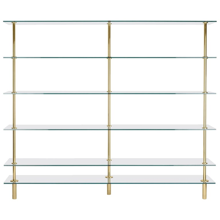 Legs Bookcase Polished Brass and Crystal Designed by Paolo Rizzatto