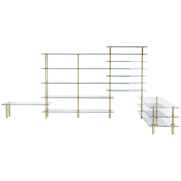 Legs Crystal and Polished Brass Angular Bookcase Designed by Paolo Rizzatto For Sale