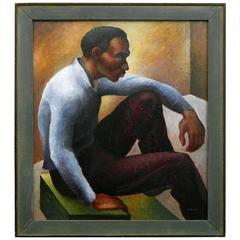 """Black Figure in Yellow Room,"" 1930s Portrait by Student of Thomas Hart Benton"