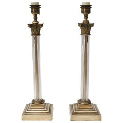 Pair of Bronze and Crystal Column Form Table Lamps