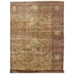Antique Persian Kerman Carpet, Oriental Rug, Handmade, Ivory, Gold, Blue, Soft