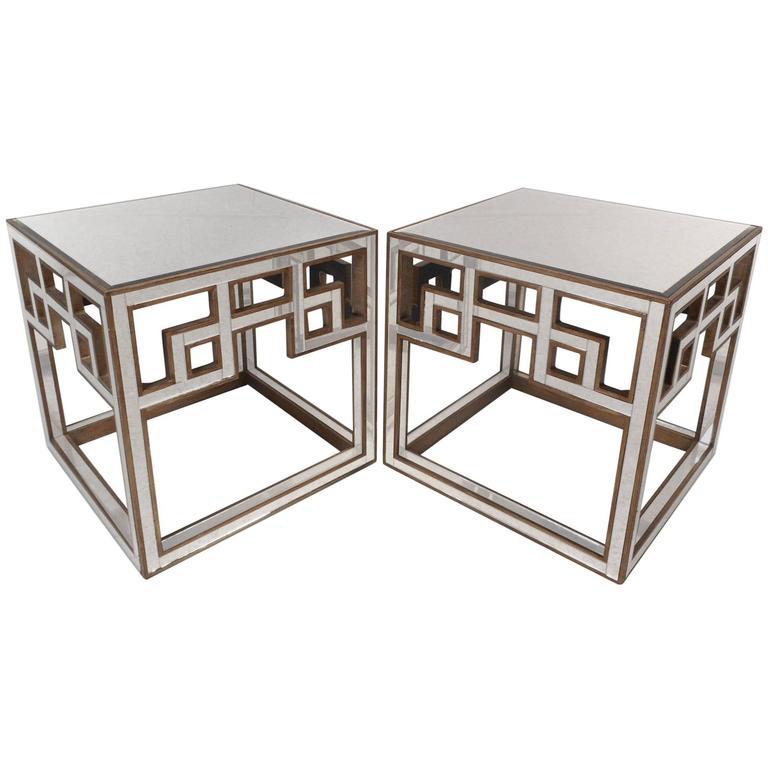 Elegant pair of mid century modern mirrored hollywood for Elegant modern furniture styles