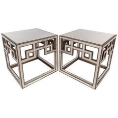 Elegant Pair of Mid-Century Modern Mirrored Hollywood Regency Style End Tables