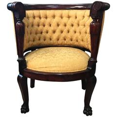 19th Century Hand-Carved Tufted Chair