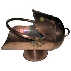 19th century Scottish Helmet Copper Coal Scuttle