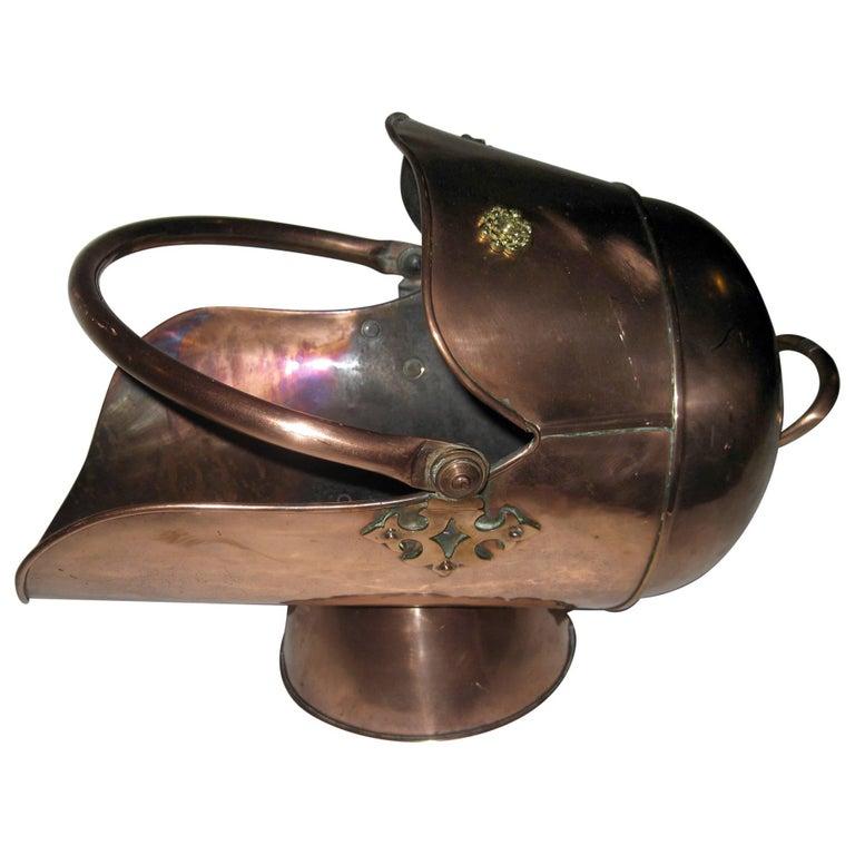 19th century Scottish Helmet Copper Coal Scuttle For Sale