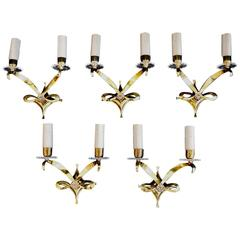 Rare and Beautiful Set of Five French Bronze Sconces by Jules Leleu