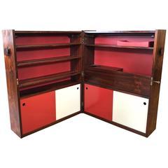 Rare Erik Buch for Dyrlund Transforming Rosewood Bar Cabinet