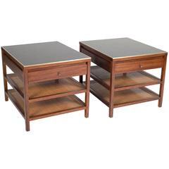 Pair of Side Tables by Paul McCobb with Leather Tops and Brass Edge