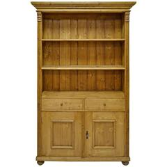 Pine Bookcase with Two Doors and Two Drawers
