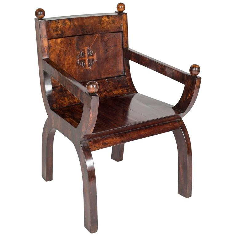 19th Century Olivewood Curule Form Armchair For Sale
