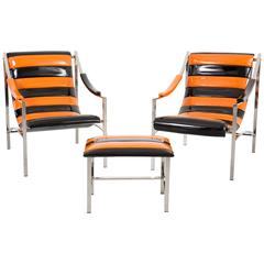Set of Otto Gerdau Chairs and Ottoman in Patent Leather