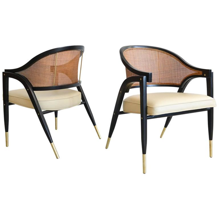 Edward Wormley for Dunbar Pair of Sculpted Armchairs, circa 1955 For Sale