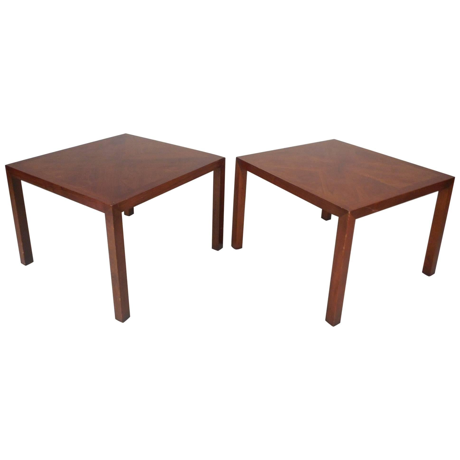 Mid-Century Modern Square Walnut End Tables by Lane Furniture