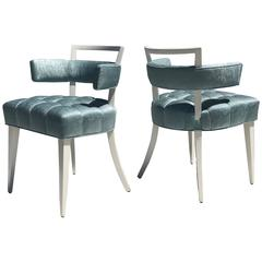 Set of Four Billy Haines Attributed Biscuit Tufted Side or Dining Chairs
