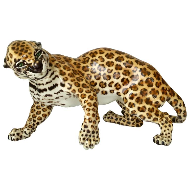 Nymphenburg Porcelain Hans Behrens Zola Leopard Figure Art Nouveau For Sale