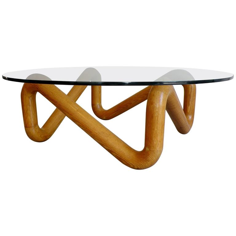 Harvey Probber Mid-Century Sculpted Oak and Glass Coffee Cocktail Table For Sale
