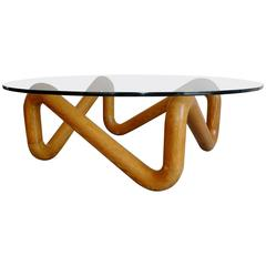 Harvey Probber Mid-Century Sculpted Oak and Glass Coffee Cocktail Table