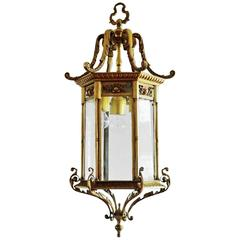 Large 19th Century French Bronze and Faceted Glass Six Sided Lantern, Chandelier