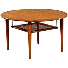 Danish Mid-Century Round Teak Sofa Table by Johannes Andersen for Christiansen