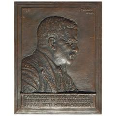 Signed James Earle Fraser Bas Relief Bronze Plaque, 1920, Teddy Roosevelt