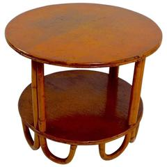 Bamboo and Oak Two-Tier Table Possibly by Frankl