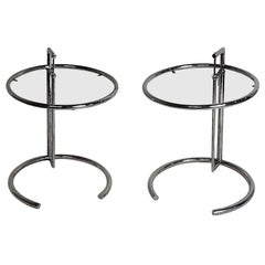 Pair of Vintage Eileen Grey Style E1027 Chrome and Glass Adjustable Side Tables