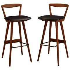 Pair of Danish Teak Barstools by Henry Rosengren