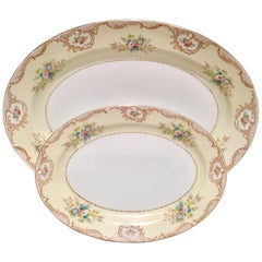 1930'S Pair Of Japanese Hand-Painted Porcelain & 22-K Gold Platters By, Meito