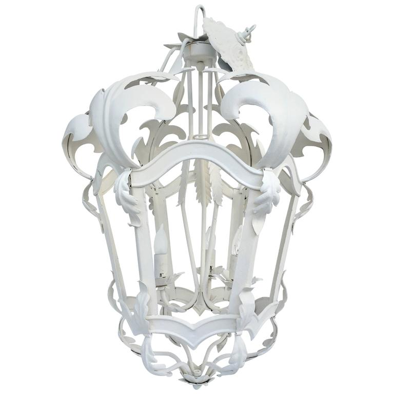 Vintage Venetian Tole Style Iron 3-Light Hanging Lantern Chandelier
