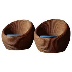 Pair of Isamu Kenmochi Rattan Chairs