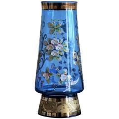 Bohemian Blue Art Glass Vase 22 Karat Gold Gilded Enameled Decor Floral Motif