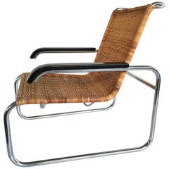 Marcel Breuer for Thonet B35 Chrome and Rattan Chair