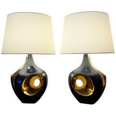 Pair of Black and Gilded Ceramic Table Lamps